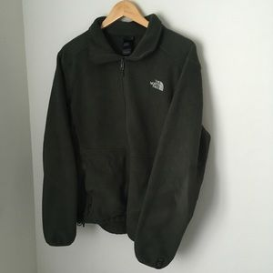 Olive green north face fleece jacket